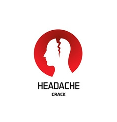 Headache logo with crack in a head Pharmaceutical vector image