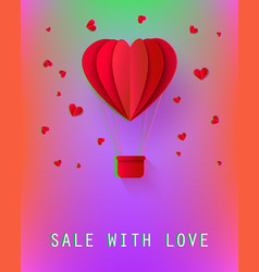 hot air balloon papercut heart shape vector image