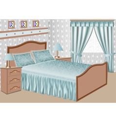 interior of a bedroom with a satin gown vector image