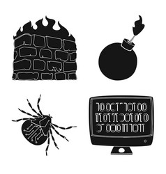 Isolated object virus and secure icon set of vector