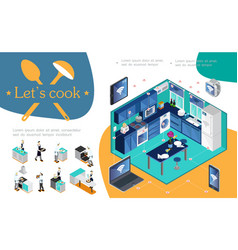 isometric smart kitchen infographic concept vector image