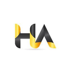 joined or connected ha h a yellow black alphabet vector image