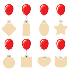 Labels different shapes flying on balloons vector