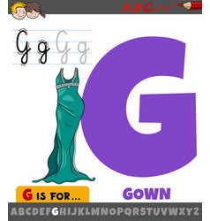 Letter g from alphabet with cartoon gown vector