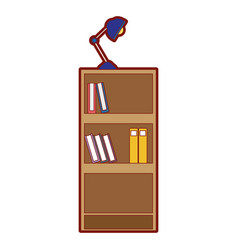 line color education bookcase with books and desk vector image