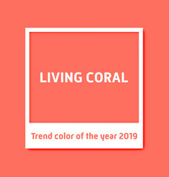 Living coral background white photo frame trend vector
