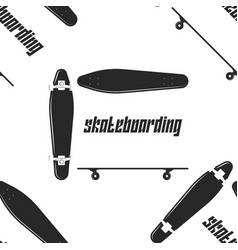 longboard sport seamless pattern black and white vector image