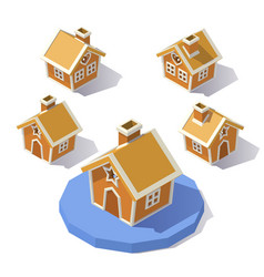 low poly gingerbread house vector image