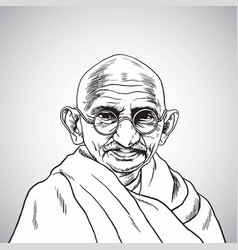 Mahatma gandhi portrait drawing cartoon vector