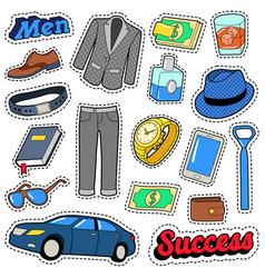 Men success accessories and clothes set vector