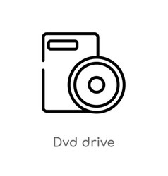 Outline dvd drive icon isolated black simple line vector