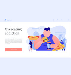 Overeating addiction concept landing page vector