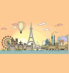 paris colorful line art 9 vector image