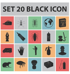Pest poison personnel and equipment black icons vector