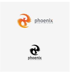 Phoenix bird and fire logo design vector
