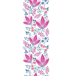 Pink flowers vertical seamless pattern background vector image