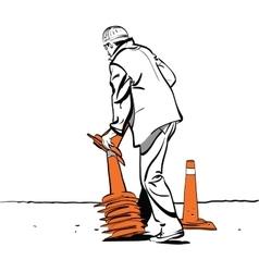 Road worker puts traffic cones vector