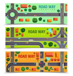 Roadway horizontal banners vector