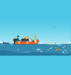Sea garbage boat vector