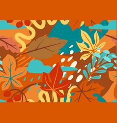 seamless floral pattern with autumn foliage vector image