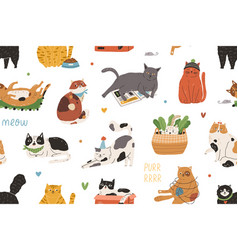 seamless pattern with cute funny cats playing and vector image