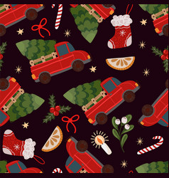 seamless pattern with red pickup truck vector image