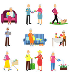 Senior man and woman activities set elderly vector
