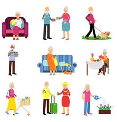 senior man and woman activities set elderly vector image