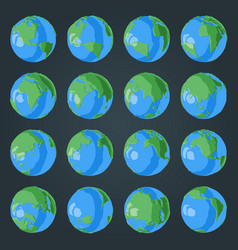 set cartoon 3d globe with green continents and vector image