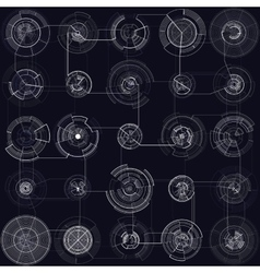 Set of abstract hud elements isolated on black vector image