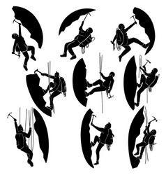 set silhouettes alpinists climbers vector image