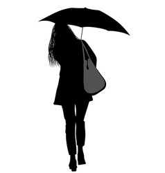 silhouette of a woman with an umbrella vector image