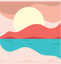simple beach landscape in flat style for element vector image