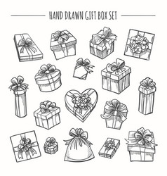 Sketch outline present boxes set vector