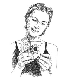 Sketch woman taking photo with compact camera vector