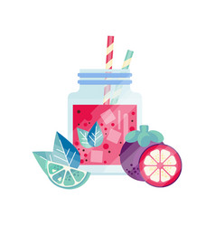 Smoothie with lime grapefruit and mangosteen vector