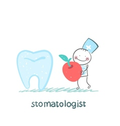 stomatologist with apple standing near a large vector image