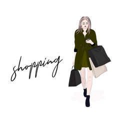 stylish woman going on shopping girl with vector image