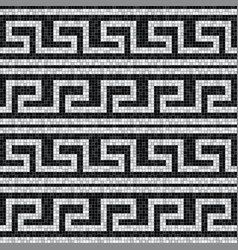 Stylized waves black and white mosaic seamless vector