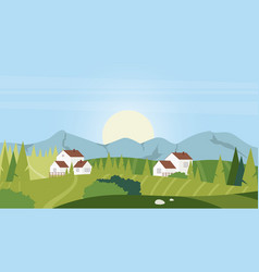 Summer rural village cartoon landscape vector
