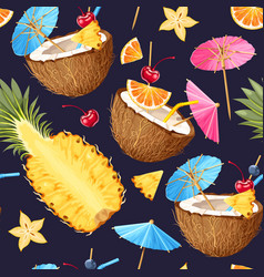 Summer seamless cocktail background vector