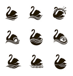 swans and waves icons vector image
