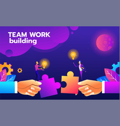 teamwork puzzle building idea concept of vector image