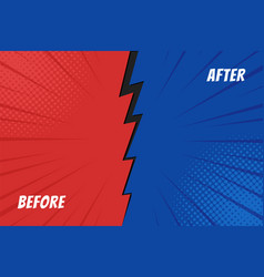 template before and after background comparison vector image