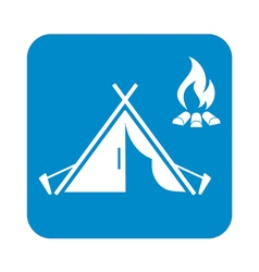 Tent bonfire icon vector