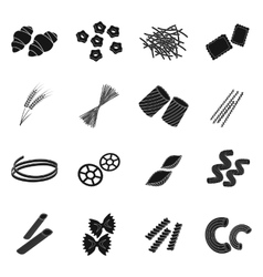 Types of pasta set icons in black style Big vector