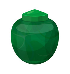 urn for dust green cremation and funeral pot vector image
