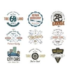 Vintage car service badges garage repair labels vector