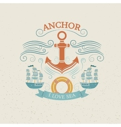 Vintage labels with anchor vector image