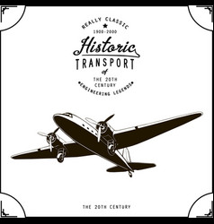 Vintage passenger plane with propellers graphic vector